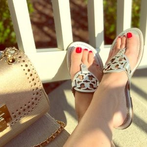 Tory Burch Miller silver metallic leather sandals